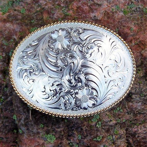 "Montana Silversmiths Buckle ""Fancy Montana with Golden Rope"""