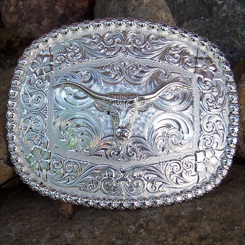 "Montana Silversmiths Buckle ""Silver Longhorn"""