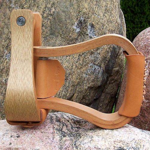 "Premium Wood Stirrups ""Shiny Wood"""