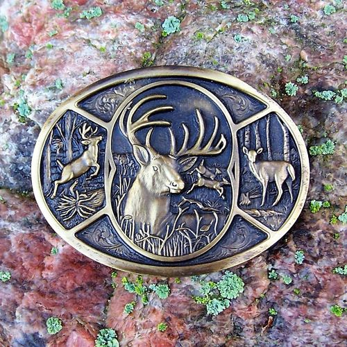 "Montana Silversmiths Brass Buckle ""Deer Family"""