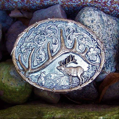 "Montana Silversmiths Buckle ""Deer and Countryside"""