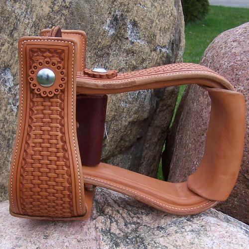 "Leather Stirrups ""Flat Basket 4 Colors"""