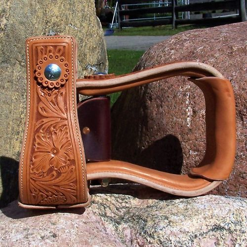 "Leather Stirrups ""Flat Flower"" 4 Colors"