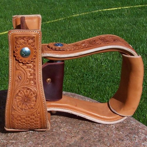 "Leather Stirrup ""Flower & Basket"" 4 Colors"