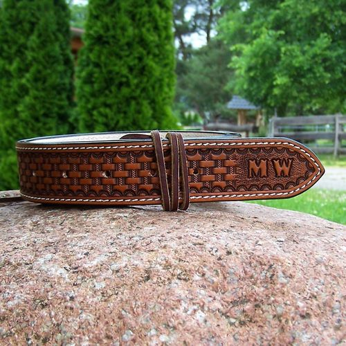 "Handmade Western-Belt ""Traditional Basket"" to dimension in colors"