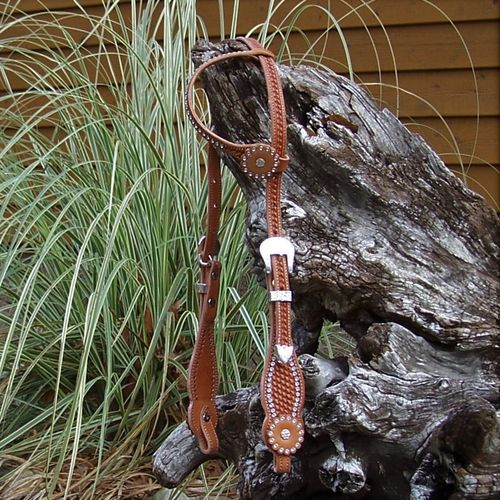 "Glitter Deluxe-Ear Headstall ""Bright Crystals and Silver"" Handmade in Colors"