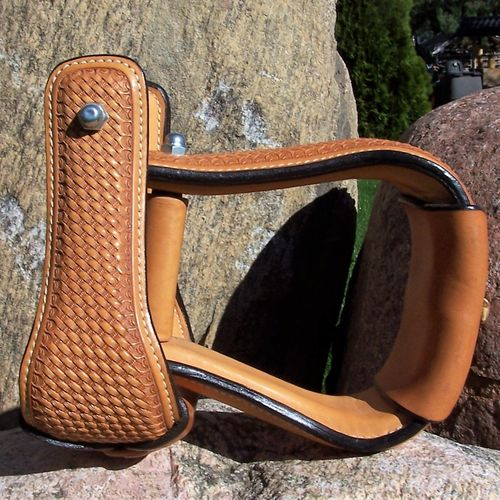 "Leather Stirrups Premium ""Basket Nature Fawn"""