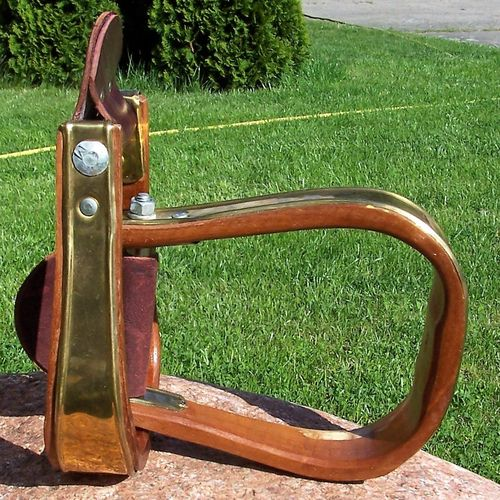 "Wood Stirrups ""Brass Cover"""