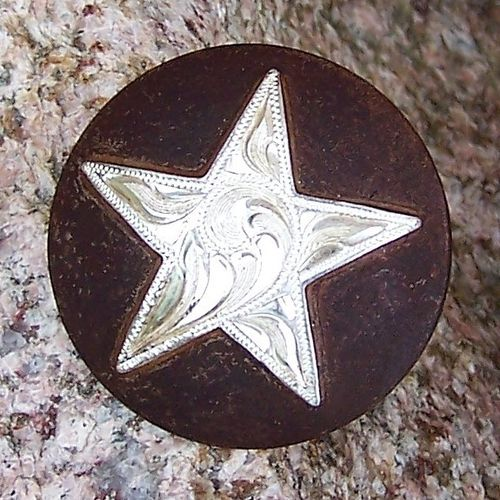 "Saddle Screw Set ""Silver Star on Brown"""