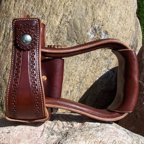"Leather Stirrups ""Hour Glass Border"" in Colors"
