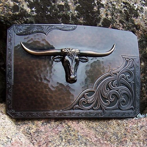 "Roughout Buckle ""Longhorn"" Original Montana Silversmiths"