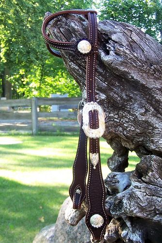 "Show Double Ear Headstall ""Bubbles on Silver"" No.2"