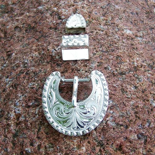 "Buckle Set 5/8 ""Silver Berry Edge"""