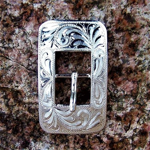 "Cart Buckle 5/8 ""Floral Silver Square"""