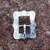 "Cart Buckle 5/8 ""Floral Silver Rectangle"""