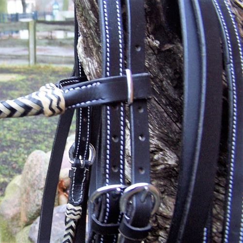 "Headstall and Reins Set ""Black and Nature"""