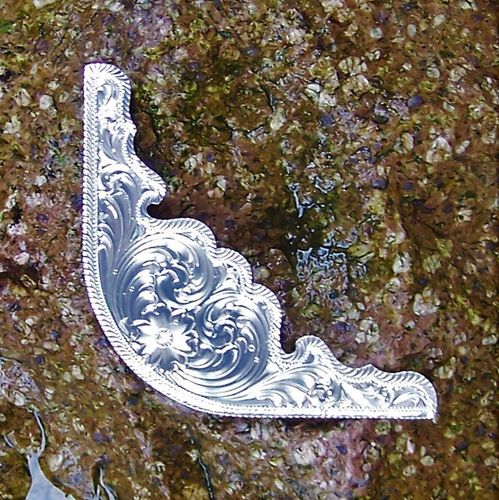 "Montana Silversmiths Jockey Plate ""Floral Silver Flash Cut Edge"""