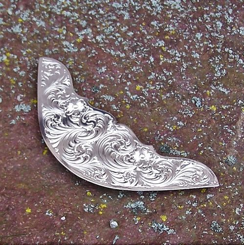 "Montana Silversmiths Jockey Plates ""Floral Silver Clear Edge"""