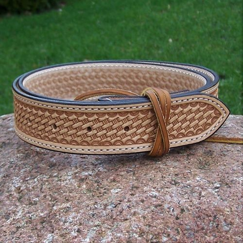 "Handmade Western-Leather Belt ""Baby Basket"" to dimension in colors"