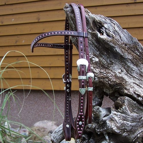 "Handmade Designer Show Headstall ""Pink Sparkling Cowgirl"""