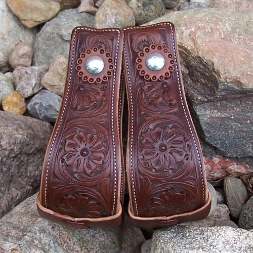 "Leather Stirrups ""3 Flowers"""