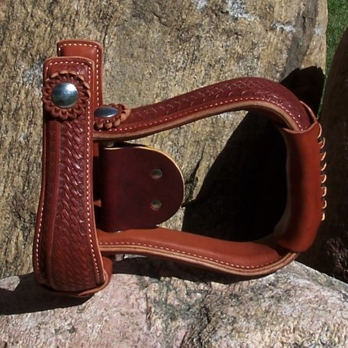 "Leather Stirrups Handmade Extra Slim ""Flat Baby Basket"""