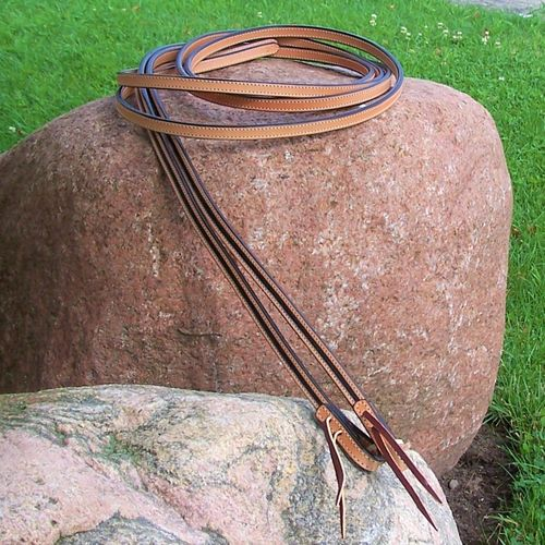 "Designer-Split Reins ""Two Tone - Black"" Handmade in Lenghts"