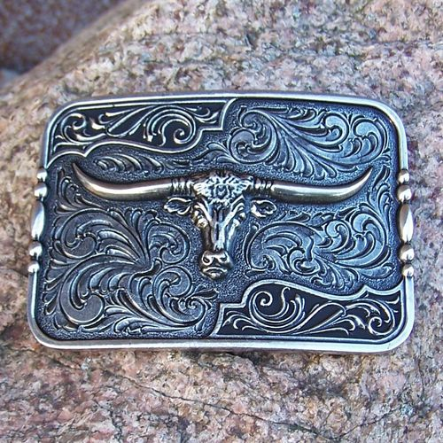 "Attitude Antique Buckle Square ""Filigree Longhorn"""