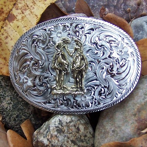 "Montana Silversmiths Buckle ""Two Trails Become One Road"""