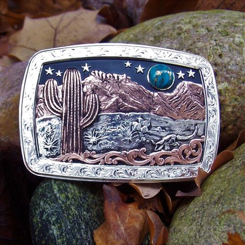 "Montana Silversmiths Buckle ""Blue Moon Desert"""