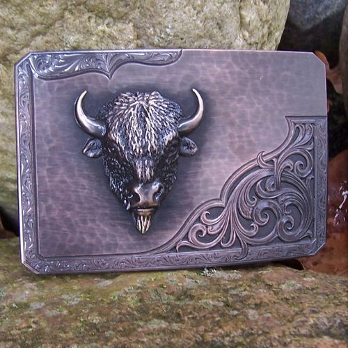 "Roughout Buckle ""Wild Buffalo"" Original Montana Silversmiths"